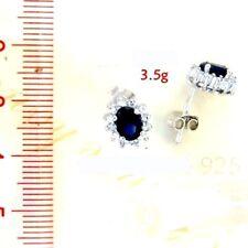 925 Sterling Silver 925 & CZ Ruby/Blue/Clear/Green Oval Cluster Stud Earrings