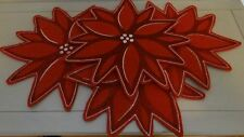 Red Poinsettia Christmas Place Mats Set Of 4