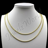 """Real 10K Solid Yellow Gold 2mm-2.5mm Franco Chain Pendant Necklace 16""""- 24"""""""