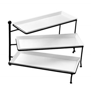 Sweese 731.101 3 Tiered Serving Stand, Foldable Rectangular Food Display Stand -