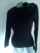Pullover Pulli schwarz mit Schalkragen Gr. 42 von Olsen          .   D