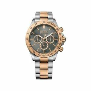 NEW HUGO BOSS MENS HB 1513339 SILVER ROSE GOLD TONE WATCH - 2 YEARS WARRANTY