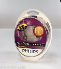 Philips Night Guide H1 bulbs - Double lifetime 12V 55W *Free Shipping* (Pair)