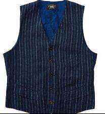 $390 RRL Ralph Lauren Nautical Indigo Dyed Striped Linen Vest Jacket-MEN- M