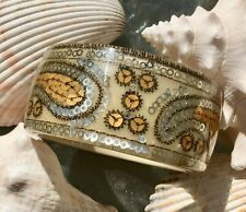 Lucite Bangle Bracelet Wide Cuff Gold and Silver Spangled design