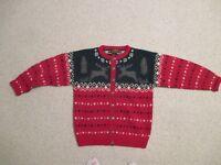 Vintage Eddie Bauer Fair Isle Nordic Reindeer wool cardigan sweater Size M