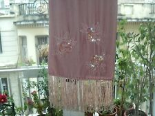 VINTAGE PINK VELVET BEADED SEQUINED SCARF SHAWL WITH FRIDGES *LONG 160cm *SPAIN