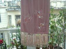 VINTAGE VELVET BEADED SEQUINED SCARF SHAWL PINK WITH FRIDGES *LONG 160cm *SPAIN