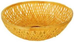 Bamboo Round Basket (Pack of 10) Wood Fruit & Vegetable Basket  (Beige)