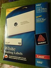 "Laser Address Labels 350 Avery 5262 Easy Peel White 1 1/3"" x 4"" New in Pack"