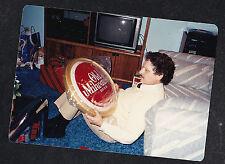 Vintage Photograph Man on Floor Holding Old Milwaukee Beer Sign - Retro TV