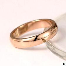Polish Finished Men Women Wedding Ring R39a Fashion 18k Rose Gold Gp Smooth Wide