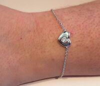 925 STERLING SILVER SINGLE HEART CHAIN BRACELET W/ .40 CT LAB DIAMOND/ 7''