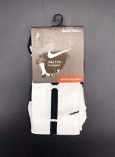 Nike Elite Cushioned Crew Basketball Socks White/Black Youth 3Y-5Y USA SX4586