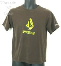 Volcom Youth T-Shirt Size L Brown with Volcom Logo in Yellow on Front & Sleeve