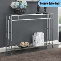 Modern Metal Hall Table w/ Shelf Glass Top Storage Display Stand Chrome Finish