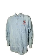 Vintage Wisconsin Badgers Denim Button Up Shirt Mens Large True Fan Embroidered