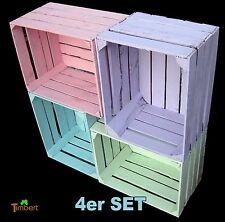 4er set de couleur arriveraient pomme caisses caisses weinkisten pastelles deco shabby