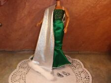 Mattel Barbie Holiday Green & Silver Gown Cute Silver Sling Backs Shoes B3006