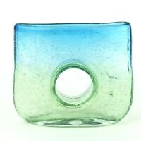 Art Glass Bubble Donut Hole Vase Green Blue Margies Garden Interior Decor