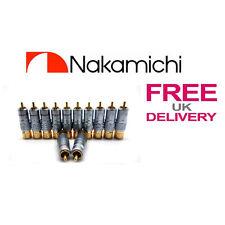 12x un. 24k Nakamichi Rca Jack Plug Locking Conector 10mm ** Reino Unido **
