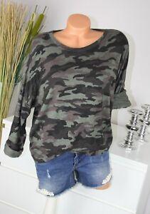 ITALY MODA Pulli CAMOUFLAGE Motive Longsleeve Shirt OLIV GRÜN S M 36 38 H/M-63