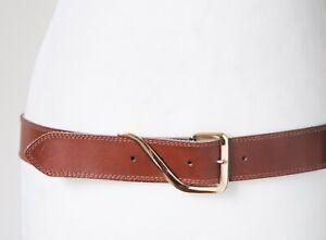 Vintage Tan Brown Leather 1980s Belt - M / L