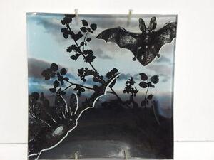 BAT Black BLUE Gothic DECORATIVE PLATE Tray w/ hanger BLACK THISTLE Dish