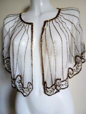 NEW GOLD SEQUIN PONCHO CROP SHRUG TOP WEDDING IVORY WRAP PARTY  BOLERO SMART