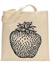 Strawberry cotton tote bag - Book bag, Shopping bag,Reusable and Washable