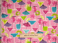 Drink Umbrella Party Pink Glitter Timeless Treasures 9537 Cotton Fabric YARD