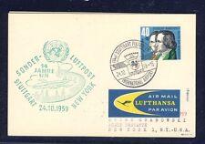 50836) LH UNO So-LP Stuttgart - New York 24.10.59, Karte EF 40PF Grimm