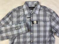 John Varvatos Star USA 17 34/35 Men's Slim-Fit Gray Plaid Top LS Dress Shirt NEW