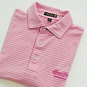Peter Millar Golf Shirt SANDY LAKES BARBADOS M Summer Comfort Pink Stripe Logo