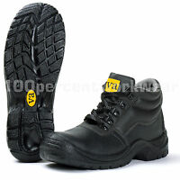 VA Water Resistant Black Leather Work Safety Chukka Boots Steel Toe Cap Mid Sole
