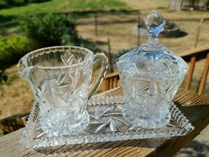 Crystal Cut Glass Cream & Sugar Set With Tray