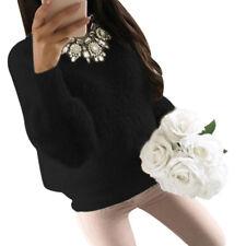Women Fluffy Winter Knitted Jumper Sweater Pullover Knitwear Long Tops Dress E9