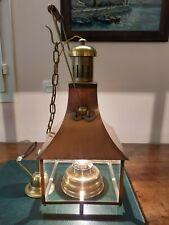 Lanterne suspension électrique ancienne lampe à pétrole cuivre laiton
