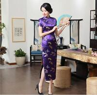 New purple Chinese women's silk/satin evening Dress/long Cheong-sam sz:6-16
