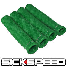 """4 PC GREEN SPARK PLUG WIRE PROTECTOR/INSULATOR SHIELD SLEEVE/BOOT 1"""" INCH A"""