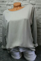 Italy Oversized Shirt Gr. 36 38 40 42 Vintage Sweat Jeans grau Bluse blogger