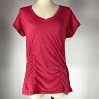 Zella Pink Scrunch Ruched Workout V-Neck Tee Shirt Women's Size Extra Large