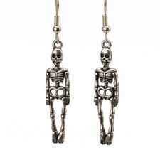 Skeleton Dangle Earrings Silver Halloween Costume Gothic Ghost Doctor Medicine