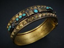 "Victorian 14k Yellow Gold Turquoise Buckle Wide Cuff Bracelet 6.5"" 25g BG148"