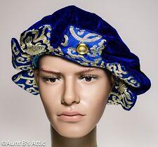 Renaissance King Henry Tudor Cap Royal Blue Velour & Gold Brocade Costume Hat