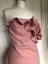 Brand New Girls On Film Size 16 Baby Pink Ruffle Body Con Strapless Party Dress