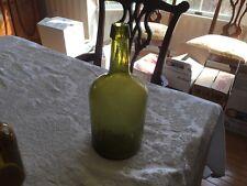 antique blown in mold applied top light olive green demijohn bottle ca 1870