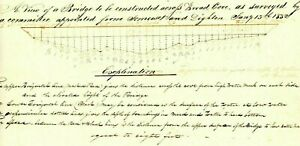 1832 Early Am Doc>ORIGINAL VIEW OF BRIDGE OVER BROAD COVE (SOMERSET & DIGHTON)