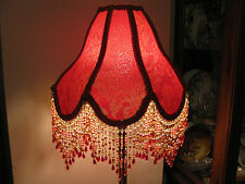 "Victorian French Med Lamp  Shade Royal ""Ruby"" 5"" Bead Fringe Look!"