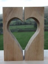 Handmade Solid Oak Large Heart Block Set. Made in Cumbria - Mothers Day Gift